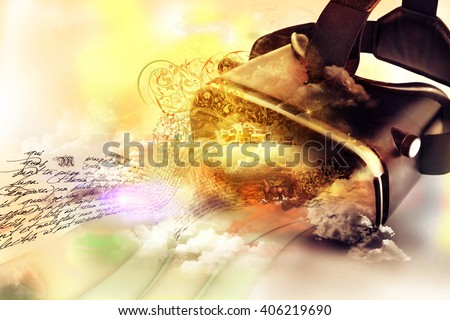 Virtual reality glasses, with three-dimensional image leaving the viewer, google's conceptual idea 3D - stock photo