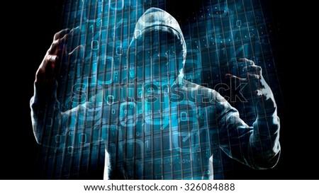 Virtual reality hacker attack - stock photo