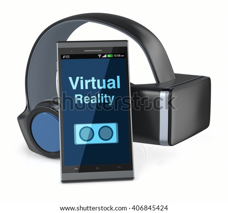 virtual reality headset with a mobile phone (3d render)