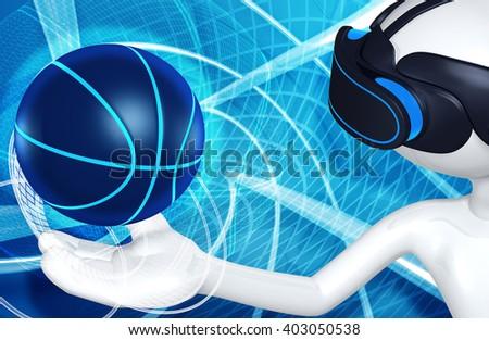 Virtual Reality VR Basketball 3D Illustration  - stock photo