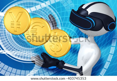 Virtual Reality VR Currency 3D Illustration