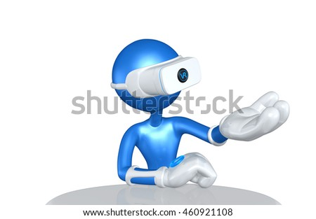 Virtual Reality VR Device Presenter 3D Illustration
