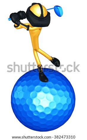 Virtual Reality VR Golfing - stock photo