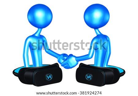 Virtual Reality VR Handshake - stock photo