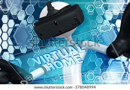 Virtual Reality VR Home - stock photo