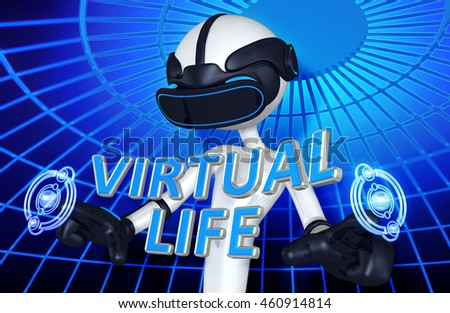 Virtual Reality VR Life 3D Illustration