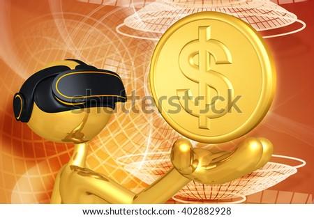 Virtual Reality VR Money 3D Illustration - stock photo