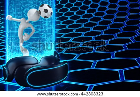 Virtual Reality VR Soccer 3D Illustration