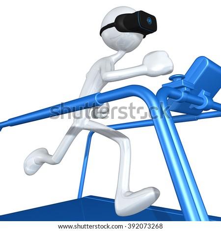 Virtual Reality VR Treadmill - stock photo