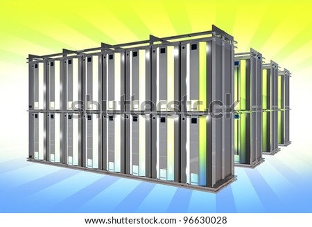Virtual Servers on Large Racks. Hosting Theme. 3D Rendered Illustration. - stock photo
