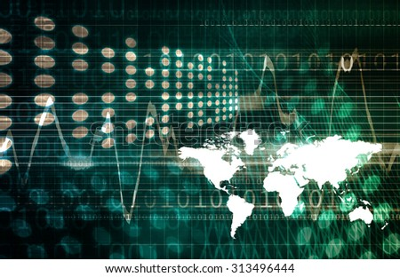 Virtual Technology with Data Network Stream Art - stock photo