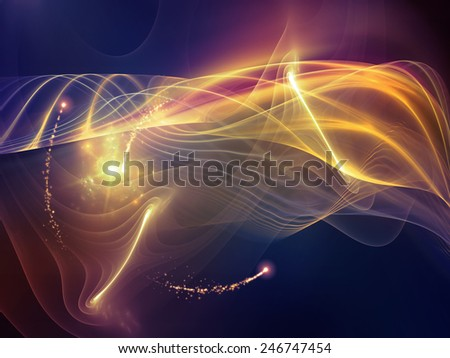 Virtual Wave series. Background design of fractal waves and lights on the subject of virtual reality science and technology