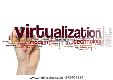 Virtualization word cloud concept - stock photo