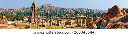 Virupaksha Temple, located in the ruins of ancient city Vijayanagar at Hampi, India - stock photo