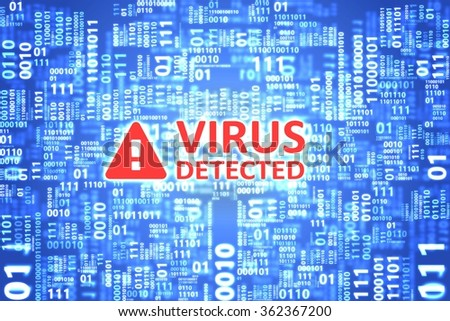 Virus detected alert on computer screen. Anti virus software found malware threat. Technology security concept. - stock photo