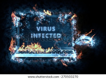 Virus enabled . Illustration created from my own photos of the flame - stock photo