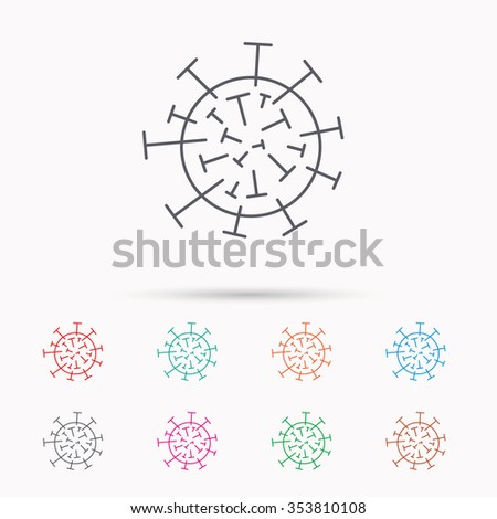 Virus icon. Molecular cell sign. Biology organism symbol. Linear icons on white background. - stock photo