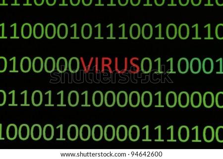Virus on binary data - stock photo