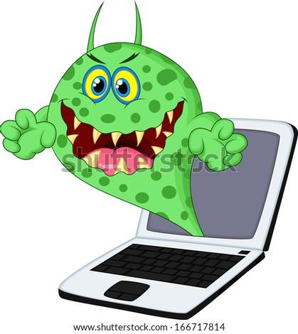 virus on laptop - stock photo