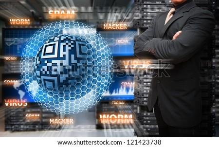 Virus protected by Programmer in data center room - stock photo