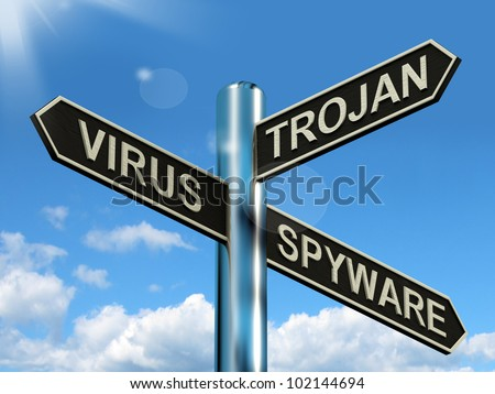 Virus Trojan Spyware Signpost Shows Internet Or Computer Threats - stock photo