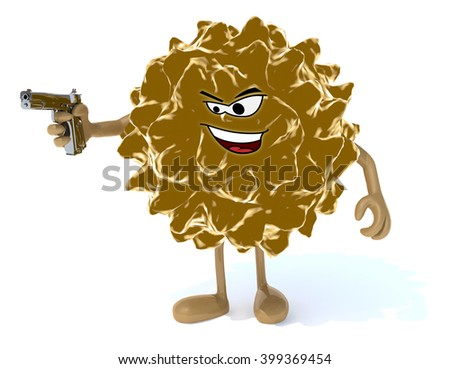 virus with arms, legs, face and gun on hand, 3d illustration - stock photo