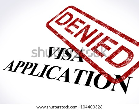 Visa Application Denied Stamp Showing Entry Admission Refused