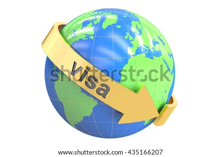 Visa Around the World concept, 3D rendering isolated on white background