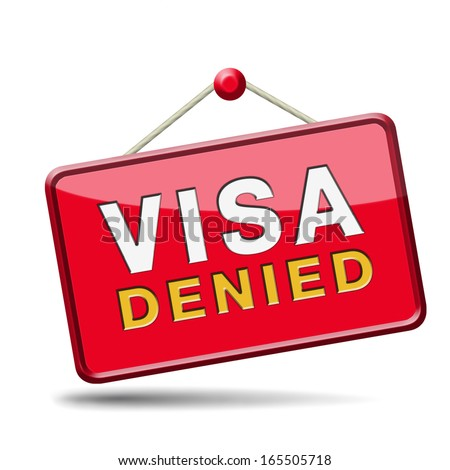 visa denied or rejected immigration stamp for crossing the border passing customs for tourism and passport control approval to enter country - stock photo