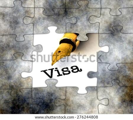 Visa puzzle concept - stock photo