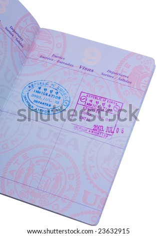 visa stamp on the passport isolated on white - stock photo