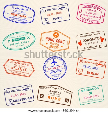 Visa stamp set. Arrival and Departure stamps from passport. International travel symbols.