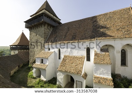 viscri fortified church, a view from the roof - stock photo