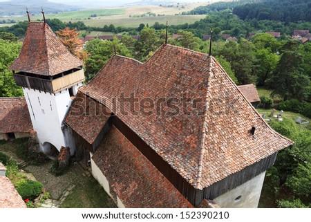 Viscri fortified church, in Transylvania, Romania, Europe - stock photo