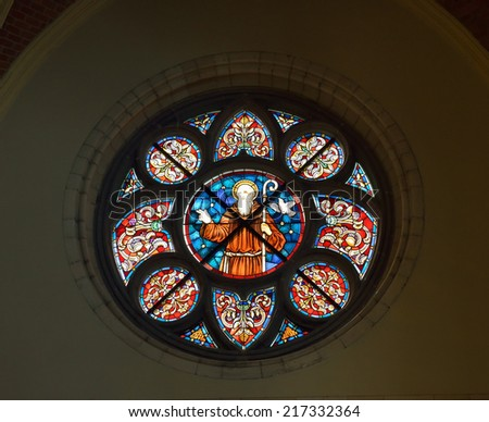 VISE, BELGIUM-JULY 07, 2014: Rose window or Catherine window of Collegiale Saint-Martin and Saint-Hadelin or church of Saint-Martin of Vise. The history of the church starts from 1338 - stock photo