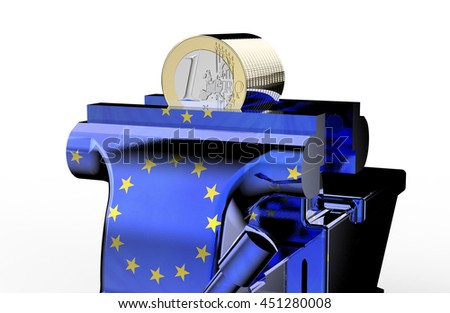 vise is holding and squeezing euro coin, 3d illustration - stock photo