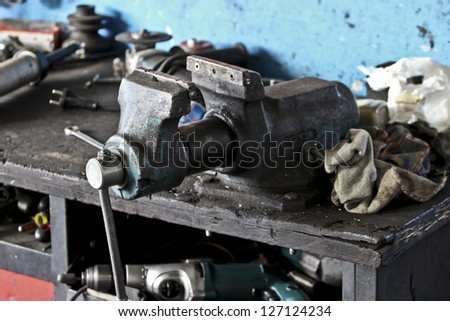 Vise on the desk - stock photo