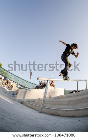 VISEU, PORTUGAL - JULY 22: Duarte Pombo at DC Skate challenge by MEO on july 22, 2012 in Viseu, Portugal.