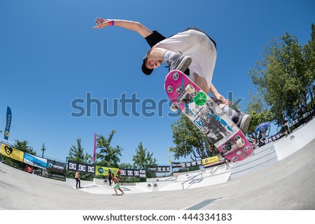 VISEU, PORTUGAL - JUNE 26, 2016: Amateur skateboarder Bruno Simoes the 1st Stage of DC Skate Challenge by Moche.
