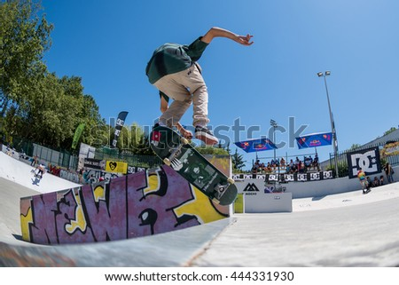 VISEU, PORTUGAL - JUNE 26, 2016: Pro skateboarder Tiago Lopes during the 1st Stage of DC Skate Challenge by Moche.