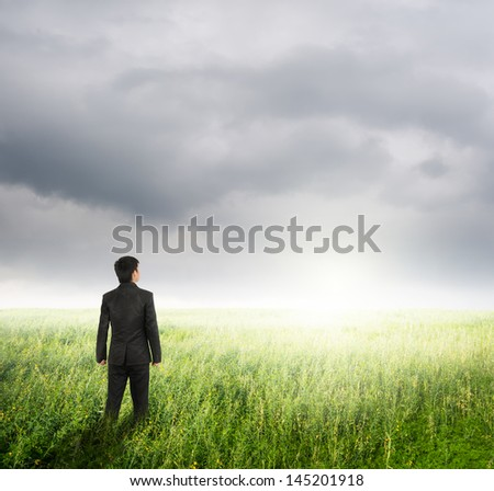 Vision business man in  fields and rainclouds