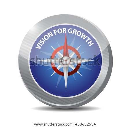 vision for growth compass sign business concept illustration design graphic - stock photo