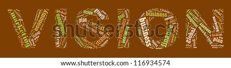 Vision in word collage - stock photo