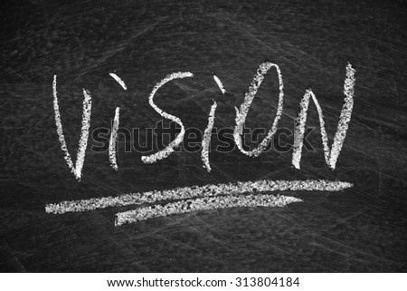 Vision on the blackboard with chalk writing.