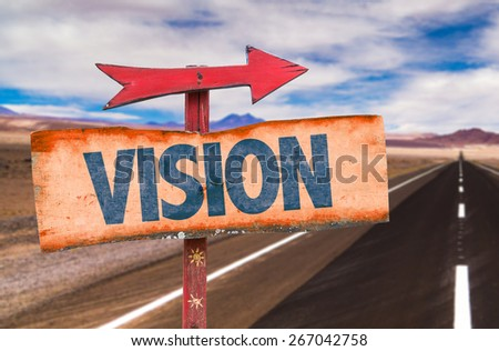 Vision sign with road background - stock photo