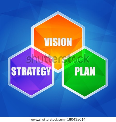 vision, strategy, plan - business growth concept words in color hexagons over blue background, flat design - stock photo