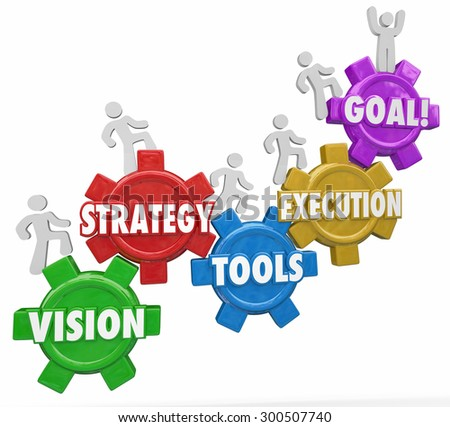 Vision, Strategy, Tools, Execution and Goal words on gears and people climbing, rising or increasing level or status to reach success - stock photo
