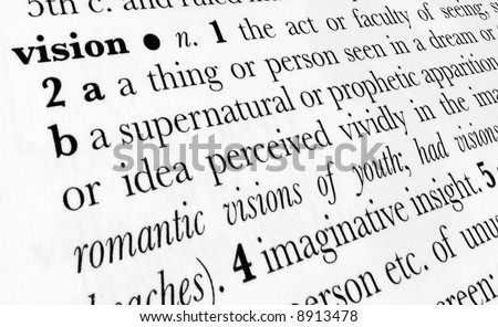 Vision word dictionary definition in great perspective