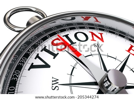 vision word on concept compass isolated on white background