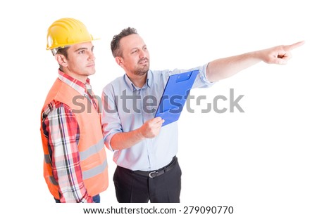 Visionary constrution site inspector and builder or contractor on white background - stock photo